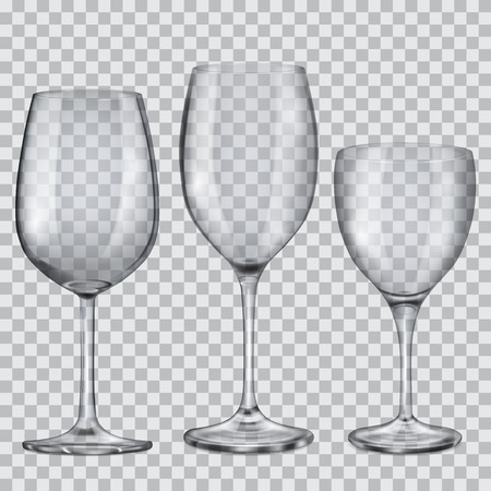 Three transparent empty glass goblets for wine Illustration