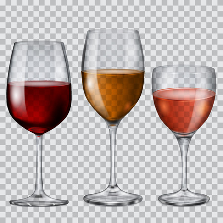 Three transparent glass goblets with wine of various colors Vectores