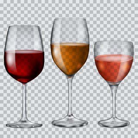 vino: Tres copas de cristal transparentes con vino de varios colores
