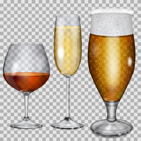 Three transparent glass goblets with cognac, champagne and beer