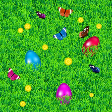 religion  herb: Easter background with grass, three multicolored easter eggs, flowers and butterflies