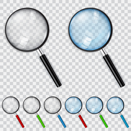 magnification icon: Set of magnifiers with transparent and light blue glasses and multicolored handles