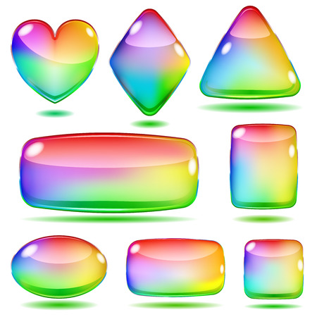 opaque: Set of opaque colored glass shapes