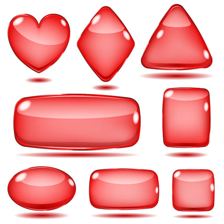 opaque: Set of opaque glass shapes in red colors Illustration