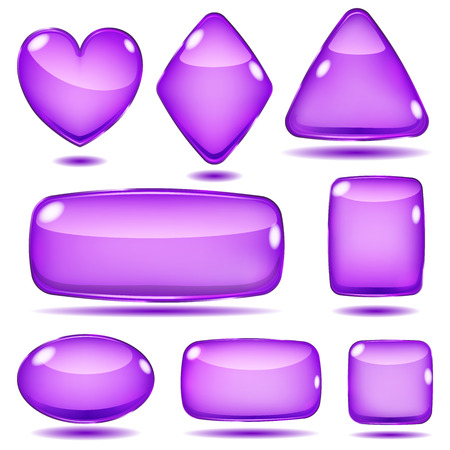 opaque: Set of opaque glass shapes in violet colors