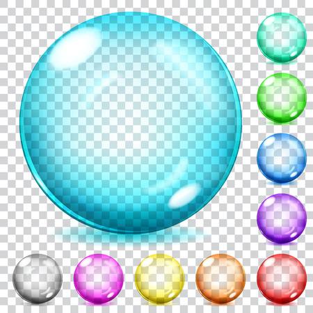 様々 な色で透明なガラス球のセット  イラスト・ベクター素材