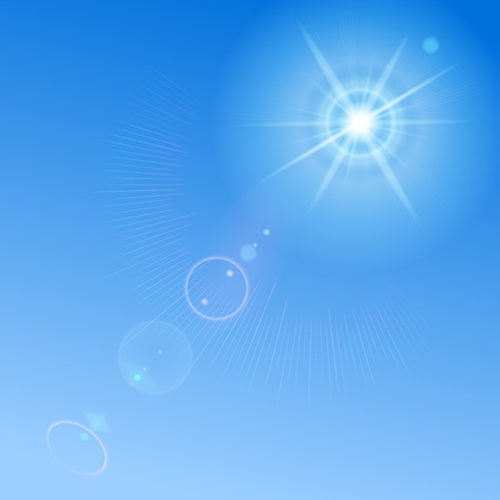replaced: Blue sky with sun and lens flare. Blue background can be replaced by any other