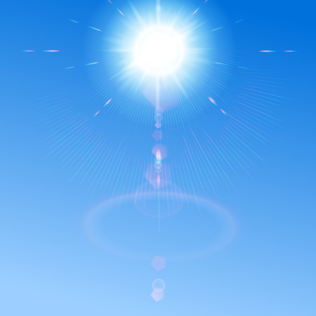 Blue sky with sun and lens flare. Blue background can be replaced by any other