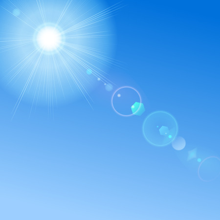 glaring: Blue sky with sun and lens flare. Blue background can be replaced by any other