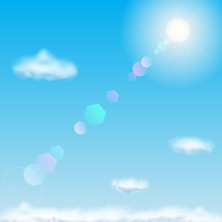summer background: Background with blue sky, sun, lens flare and clouds Illustration
