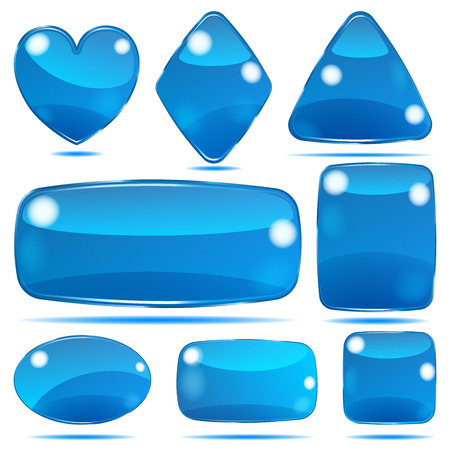 opaque: Set of opaque glass shapes in blue colors Illustration