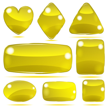 opaque: Set of opaque glass shapes in yellow colors