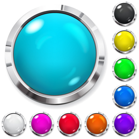 Set of realistic colored buttons with metallic borders Illusztráció
