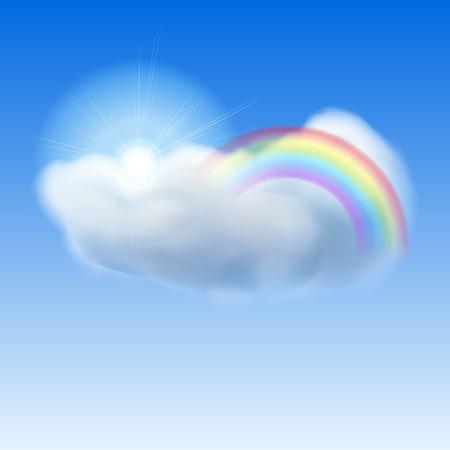 rainbow sky: Background with blue sky, sun, cloud and rainbow