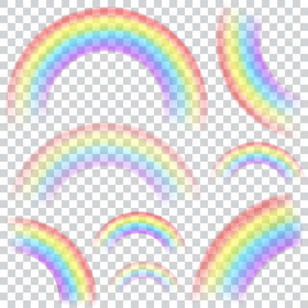 Set of transparent rainbows in various sizes and shapes