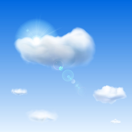 Background with blue sky, sun, lens flare and clouds Vector