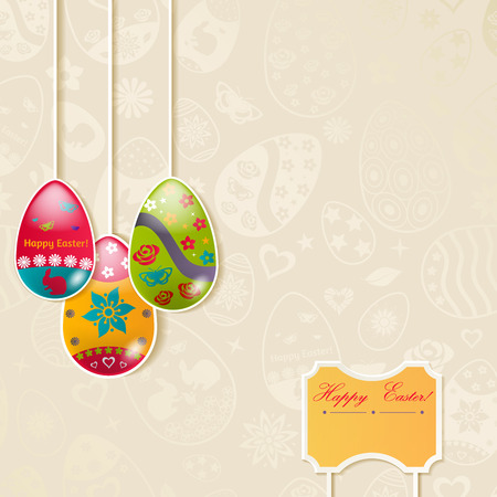 dangling: Easter background with three hanging eggs made of paper Illustration