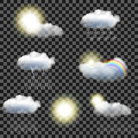 Set of seven realistic transparent weather icons