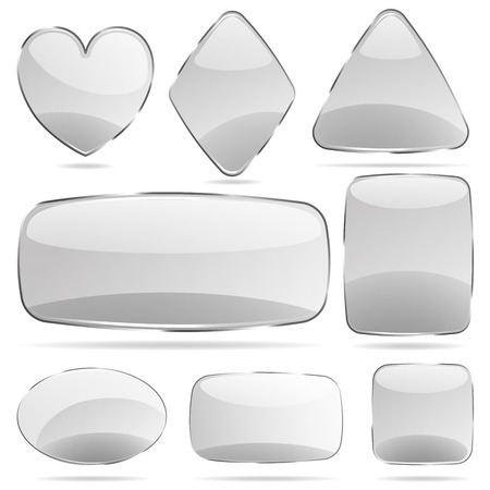 Set of opaque glass shapes in gray colors Ilustrace
