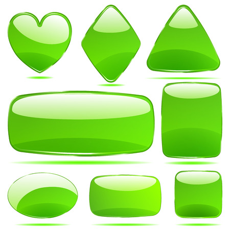 opaque: Set of opaque glass shapes in green colors