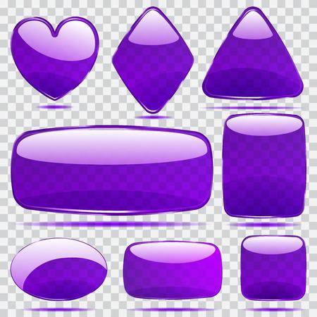 Set of transparent glass shapes in violet colors Vector