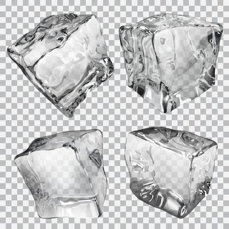 グレーの色で 4 つの透明な氷のキューブのセットします。