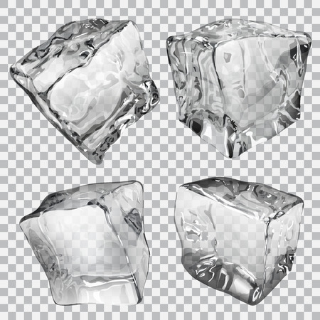 Set of four transparent ice cubes in gray colors Illustration