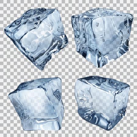 Ensemble de quatre cubes de glace transparentes dans les couleurs bleu