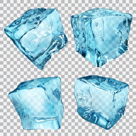 frio: Conjunto de cuatro cubos de hielo transparentes en colores azul claro Vectores
