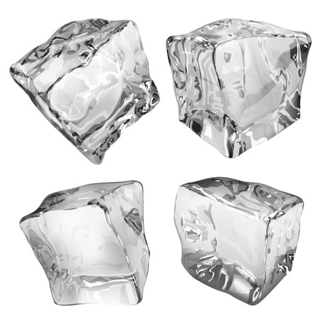 ice crystal: Set of four opaque ice cubes in gray colors