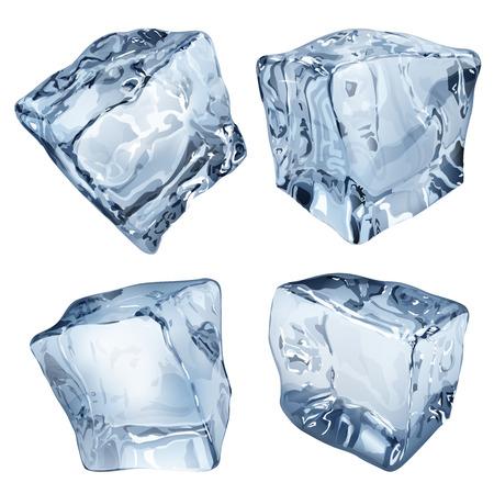 Set van vier ondoorzichtige ijsblokjes in blauwe kleuren