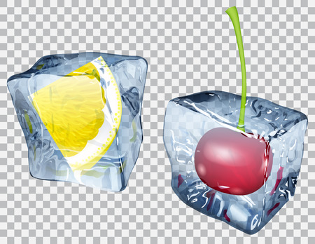 Two transparent ice cubes with frozen cherry and slice of lemon Vectores