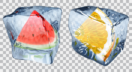 Two transparent ice cubes with frozen slices of watermelon and orange