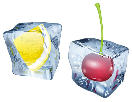 Two ice cubes with frozen cherry and slice of lemon