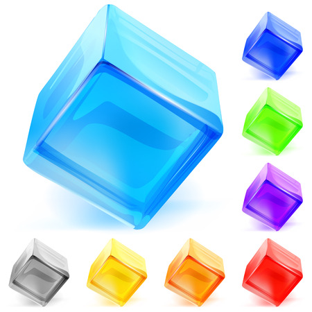 opaque: Set of multicolored opaque glass cubes