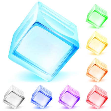 Set of multicolored opaque glass cubes Vector
