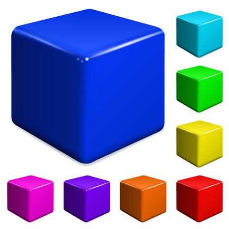 multicolored: Set of multicolored plastic cubes Illustration