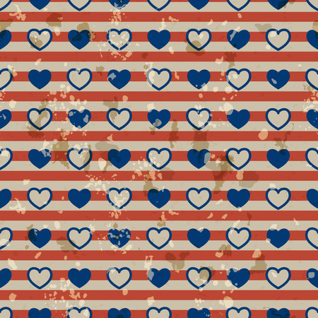 American vintage patriotic seamless pattern in the American national colors with spots Vector