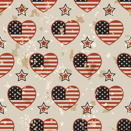 national colors: American vintage patriotic seamless pattern in the American national colors with spots