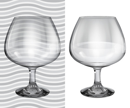 brandy: Transparent and opaque realistic empty brandy glasses Illustration