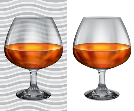 opaque: Transparent and opaque realistic brandy glasses with cognac