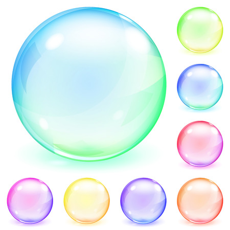Set of multicolored opaque glass spheres with glares and shadows Vectores