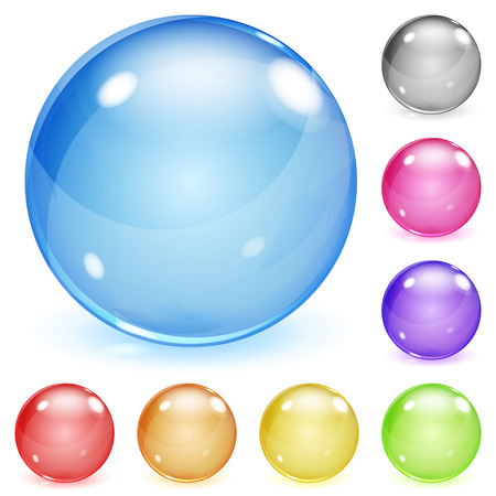 soap bubbles: Set of multicolored opaque glass spheres with glares and shadows Illustration