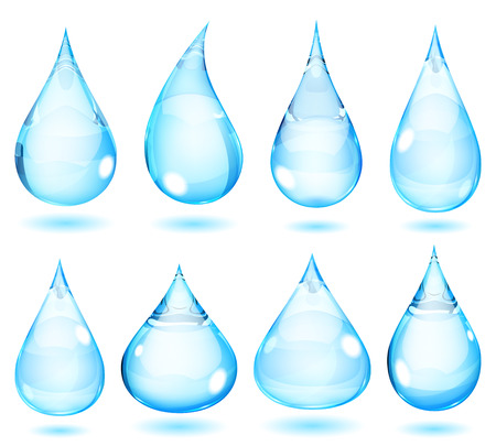 opaque: Set of opaque drops in light blue colors Illustration