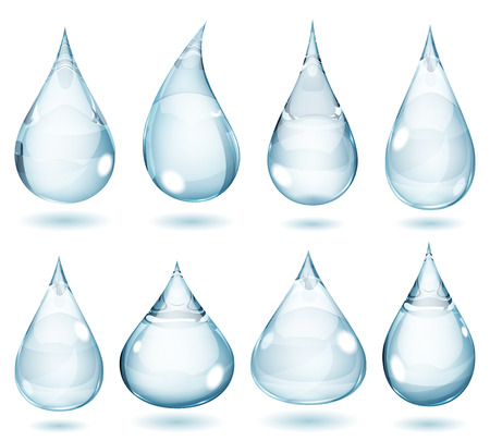 Set of opaque drops in pale blue colors