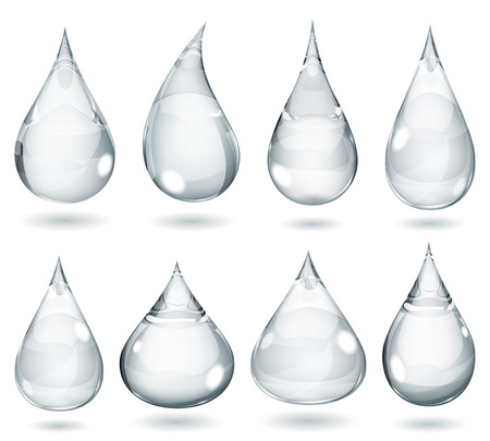 Set of opaque drops in gray colors