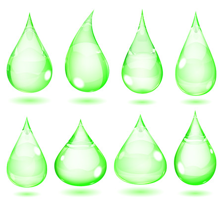 opaque: Set of opaque drops in green colors
