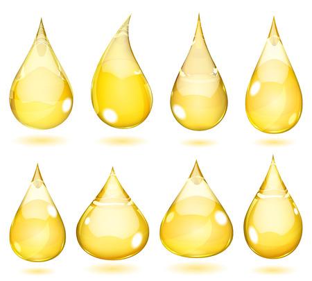 Conjunto de gotas opacas en colores amarillos saturados Ilustración de vector