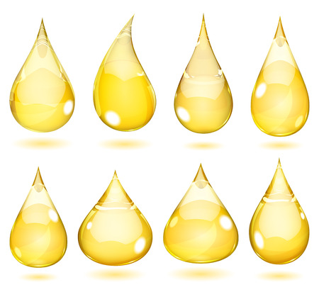 Set of opaque drops in saturated yellow colors