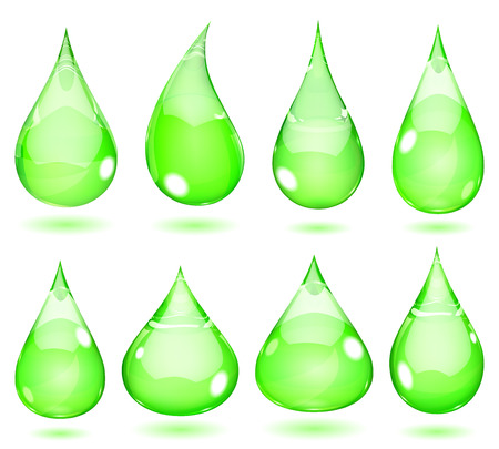 Set of opaque drops in saturated green colors